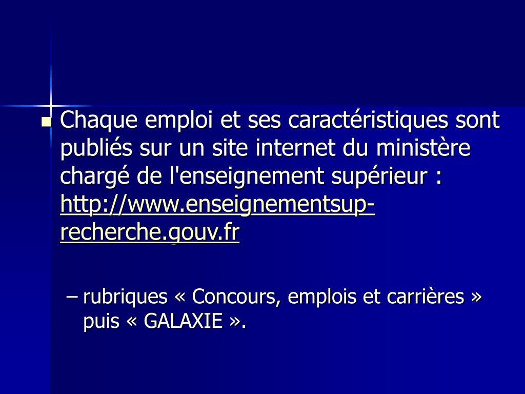 Chaque emploi et ses caractéristiques sont publiés sur un site internet du ministère chargé de l'enseignement supérieur :