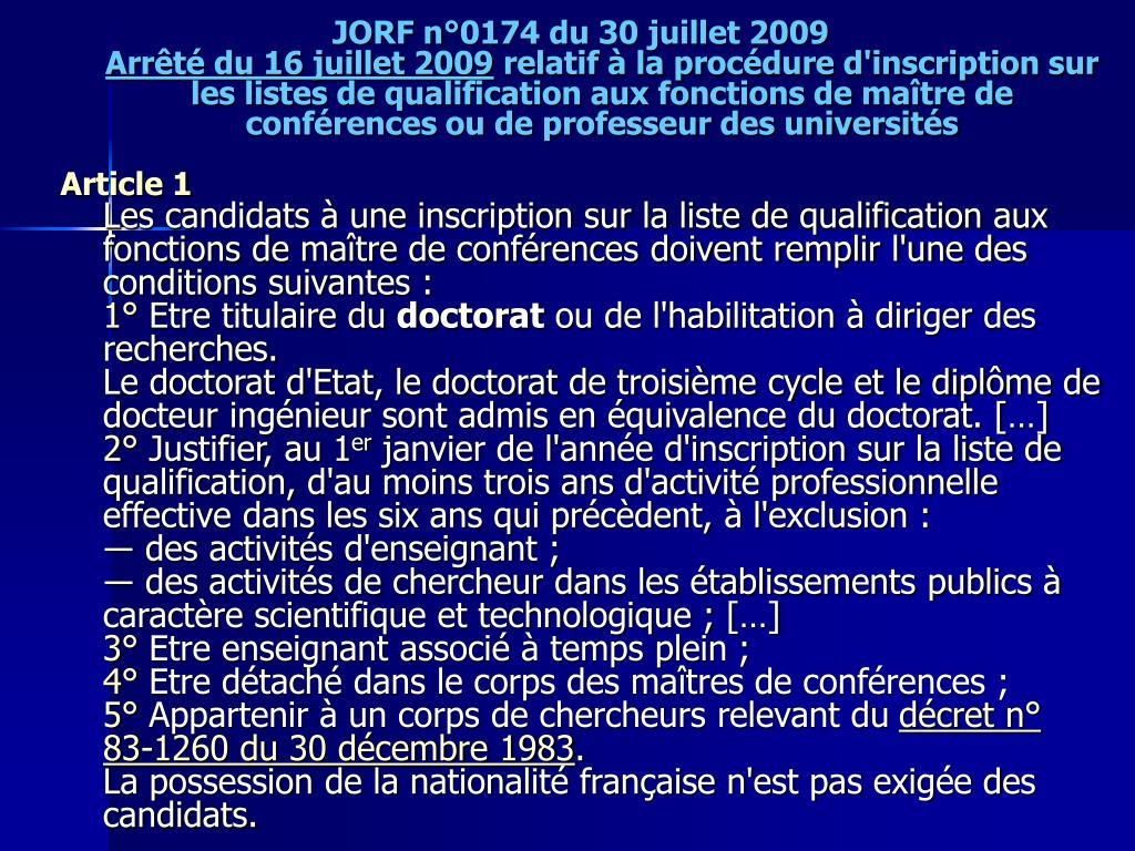 JORF n°0174 du 30 juillet 2009