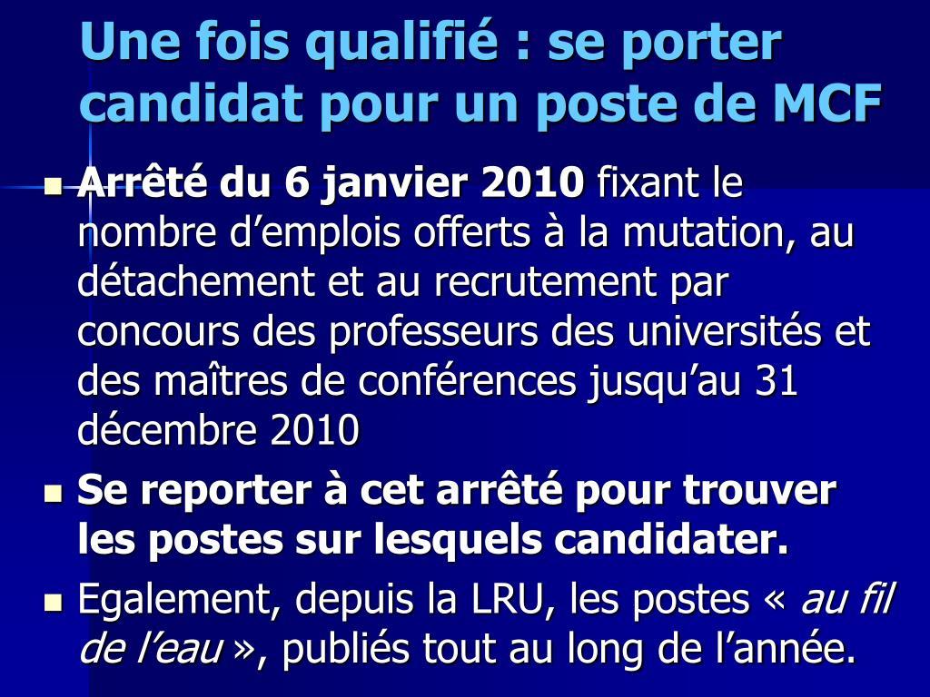 Une fois qualifié : se porter candidat pour un poste de MCF