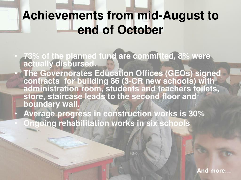 Achievements from mid-August to end of October