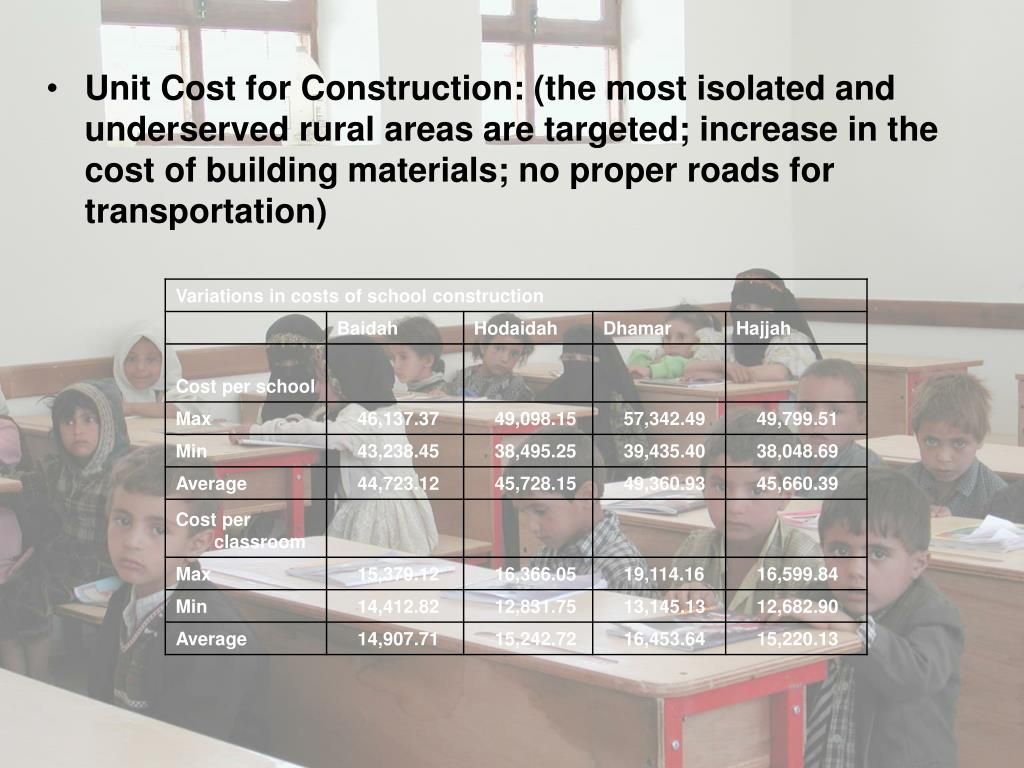 Unit Cost for Construction: (the most isolated and underserved rural areas are targeted; increase in the cost of building materials; no proper roads for transportation)