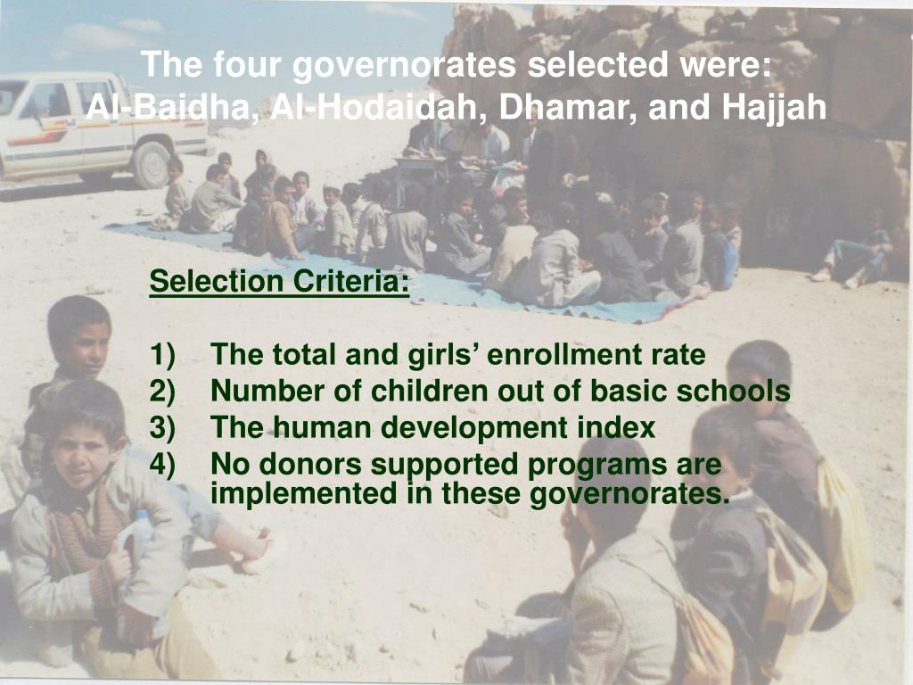 The four governorates selected were: