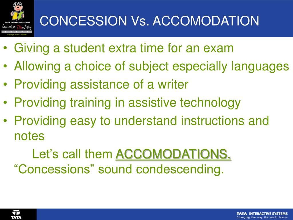 CONCESSION Vs. ACCOMODATION
