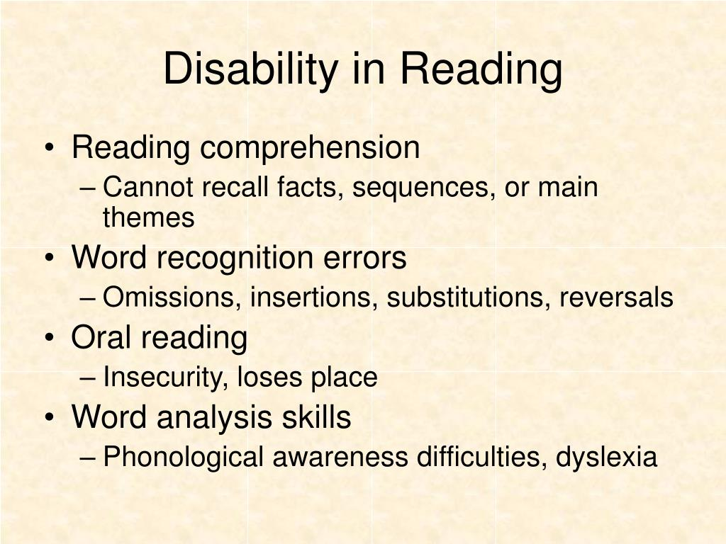 Disability in Reading