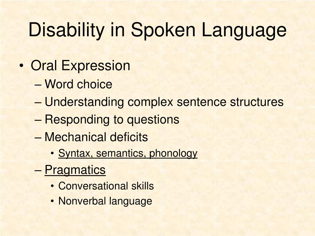 Disability in Spoken Language