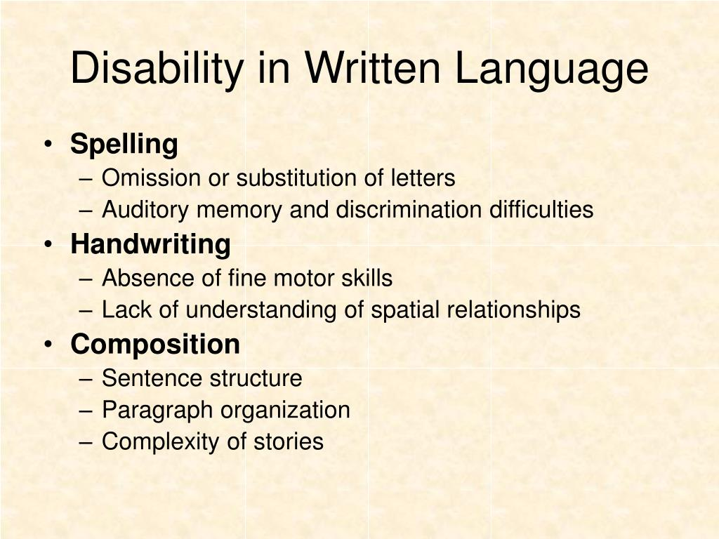 Disability in Written Language