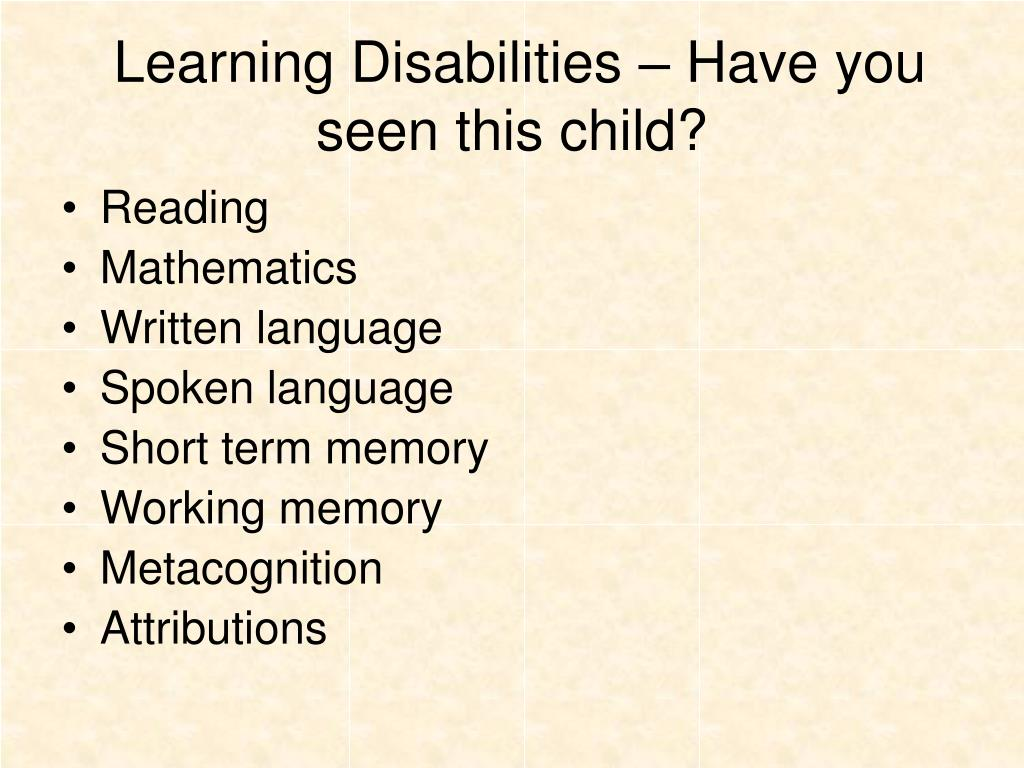 Learning Disabilities – Have you seen this child?