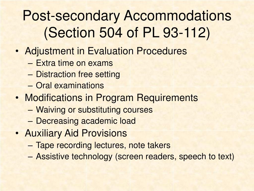 Post-secondary Accommodations
