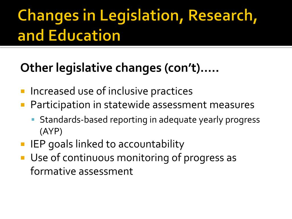 Changes in Legislation, Research, and Education