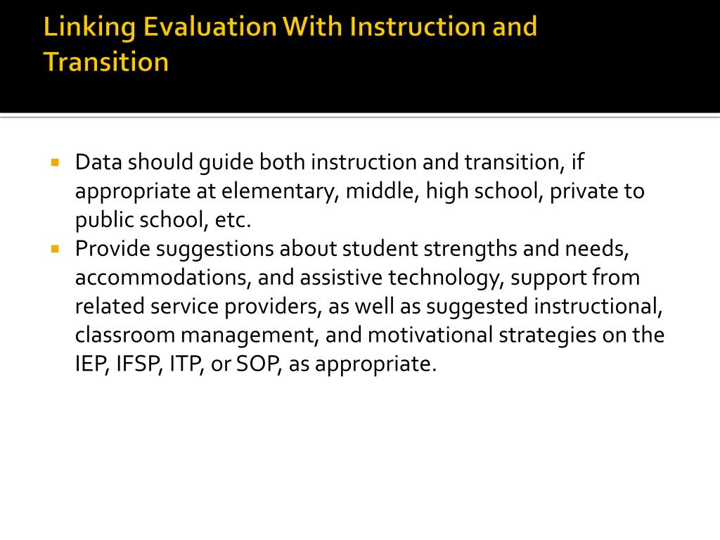 Linking Evaluation With Instruction and