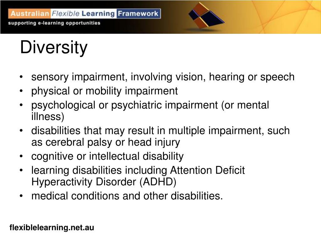 sensory impairment, involving vision, hearing or speech