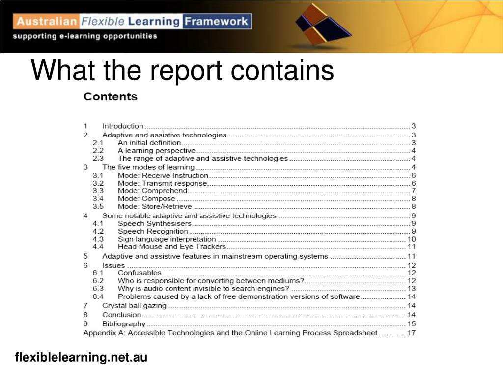 What the report contains