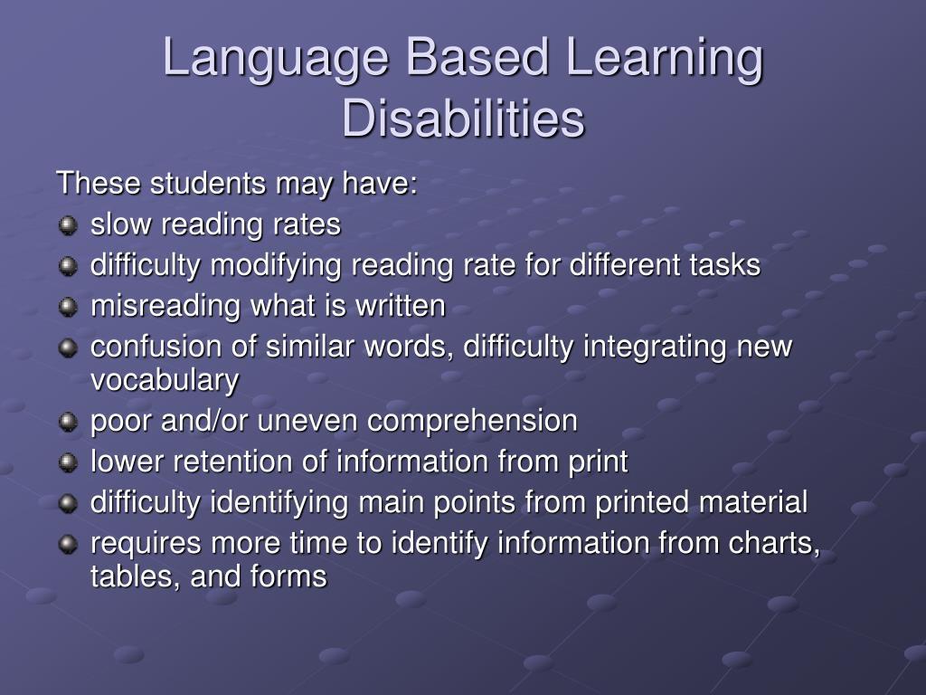 Language Based Learning Disabilities