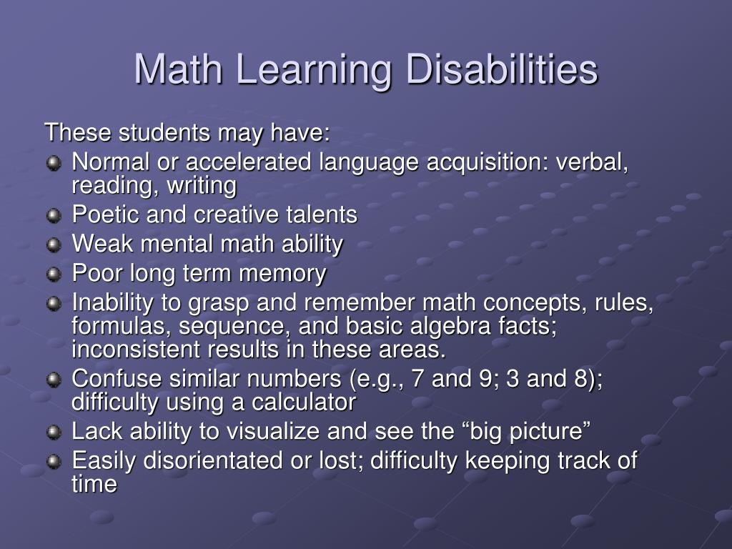 Math Learning Disabilities