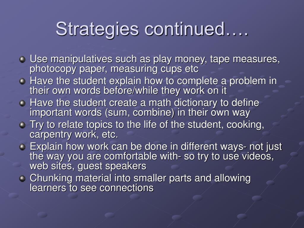 Strategies continued….