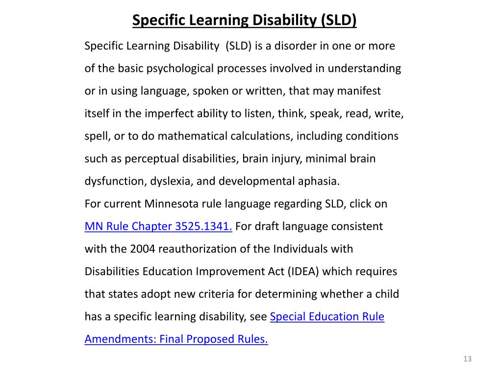 Specific Learning Disability (SLD)