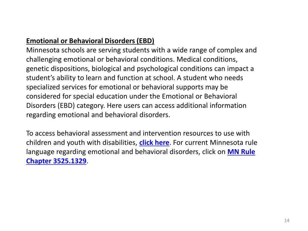 Emotional or Behavioral Disorders (EBD)