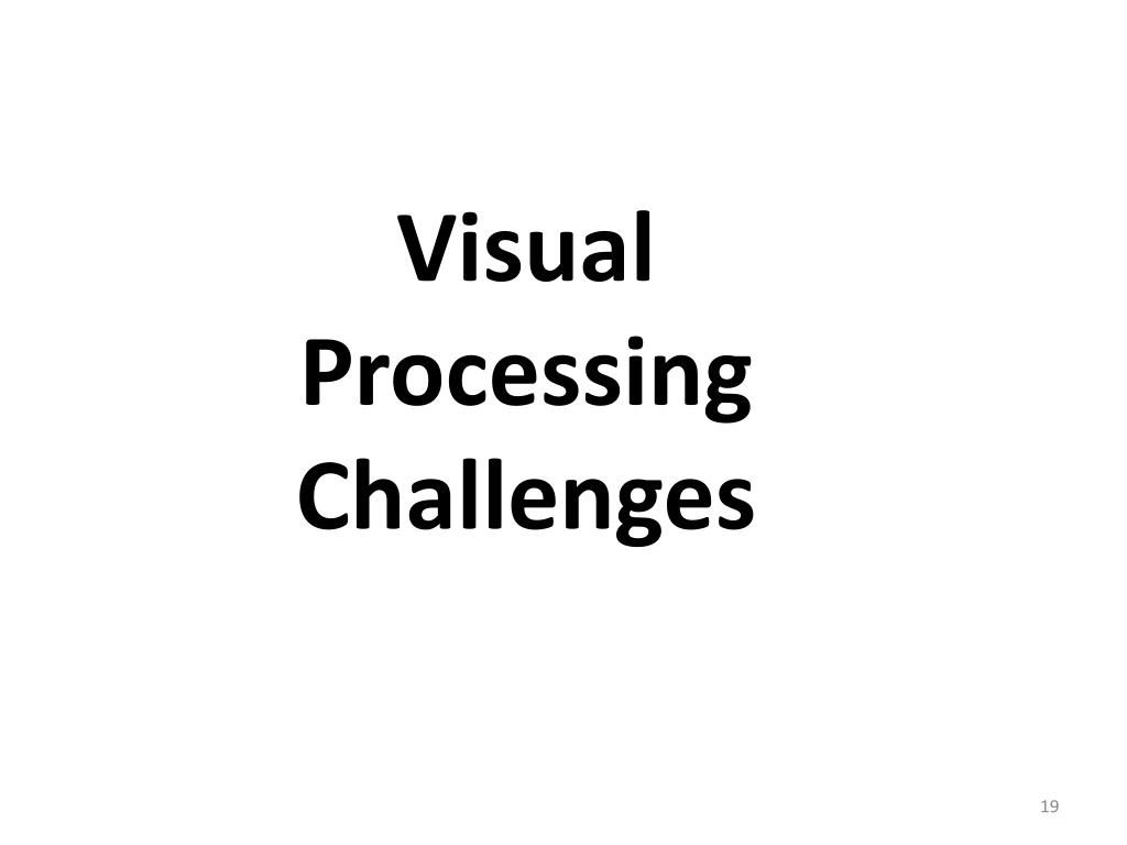 Visual Processing Challenges