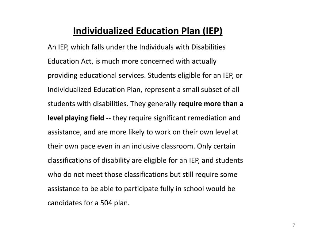 Individualized Education Plan (IEP)