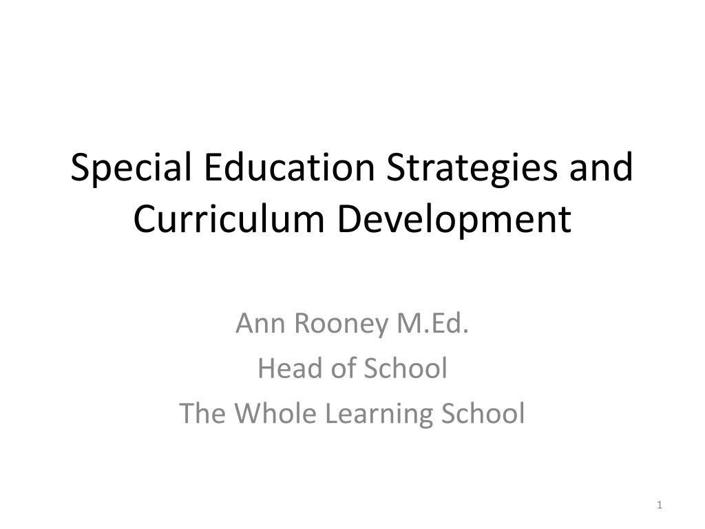 special education strategies and curriculum development