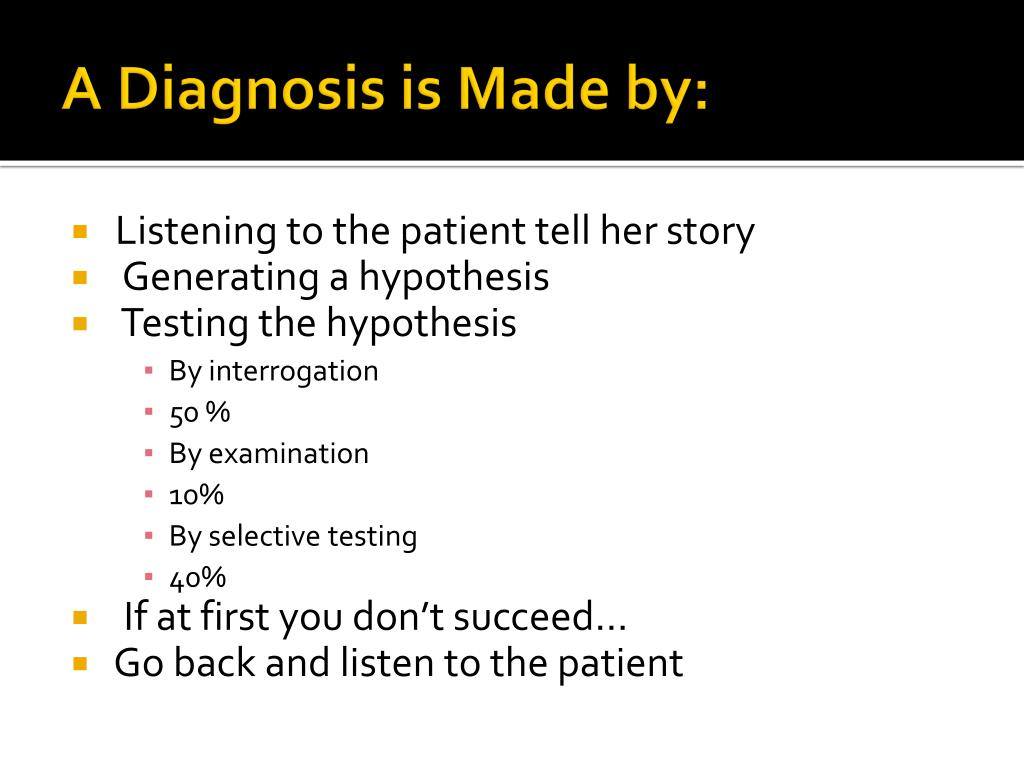 A Diagnosis is Made by: