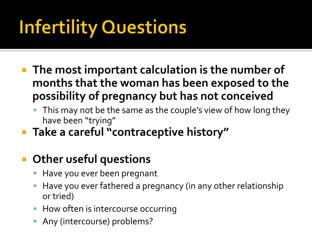 Infertility Questions
