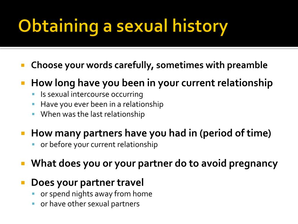 Obtaining a sexual history