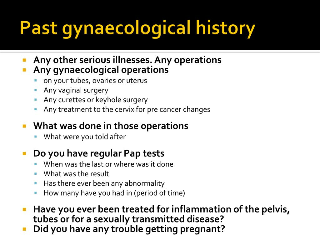 Past gynaecological history