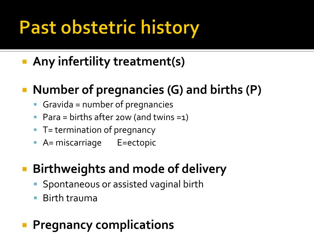 Past obstetric history