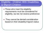 eligibility children with disabilities migrant children