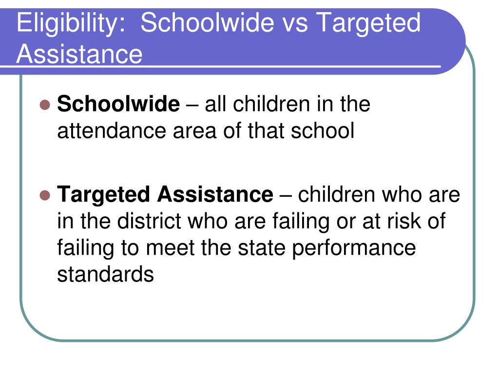 Eligibility:  Schoolwide vs Targeted Assistance