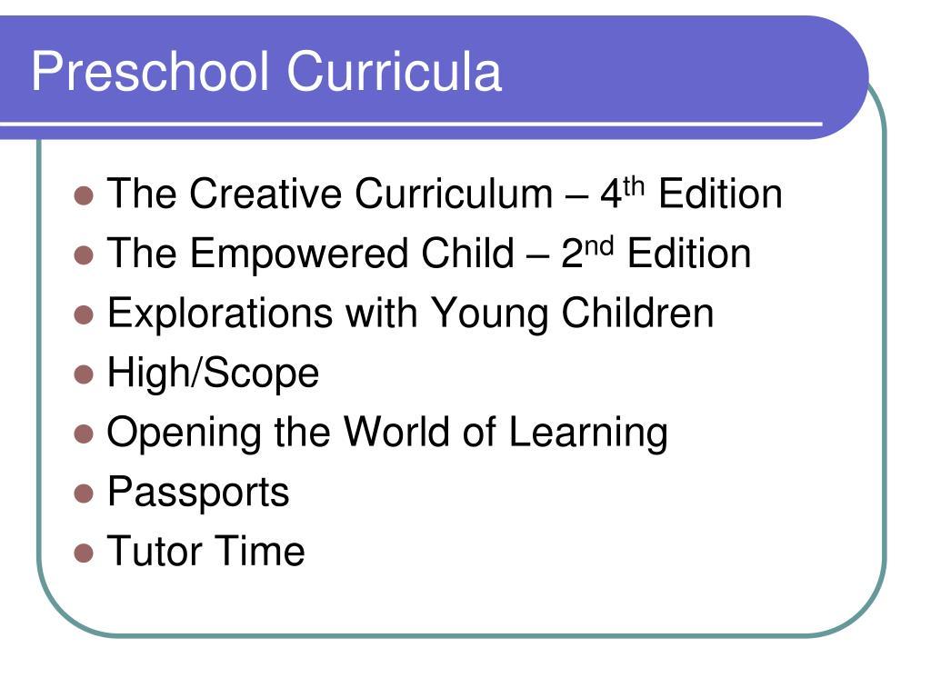 Preschool Curricula