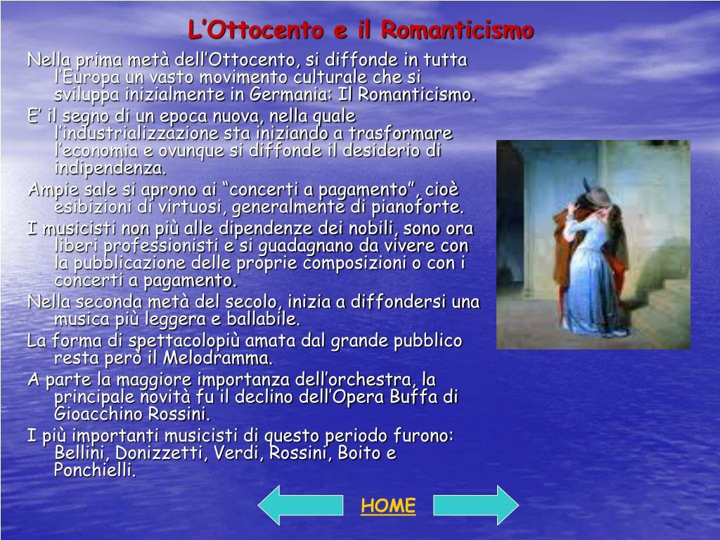 L'Ottocento e il Romanticismo