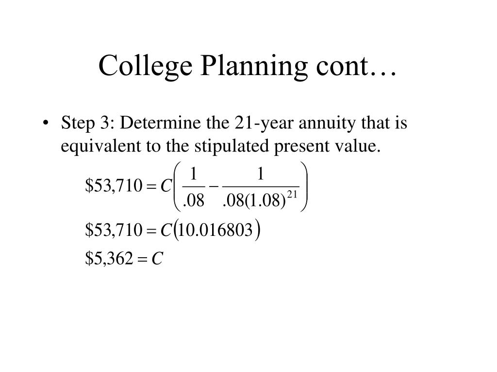 College Planning cont…