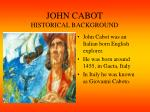 john cabot historical background