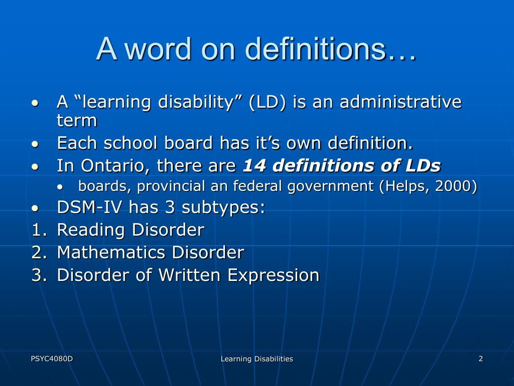 A word on definitions…