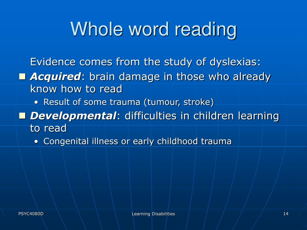 Whole word reading