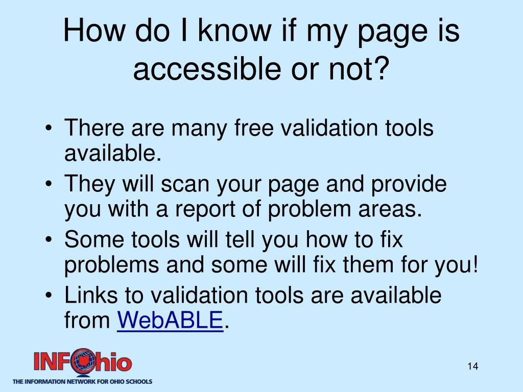 How do I know if my page is accessible or not?