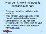 how do i know if my page is accessible or not