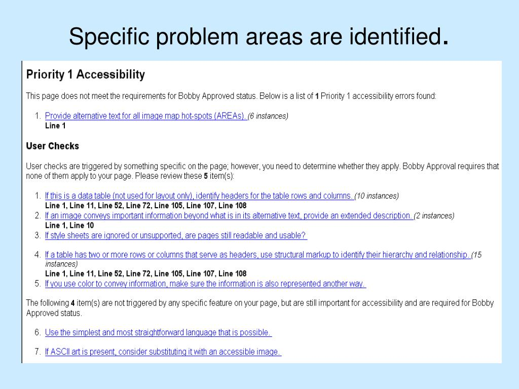 Specific problem areas are identified