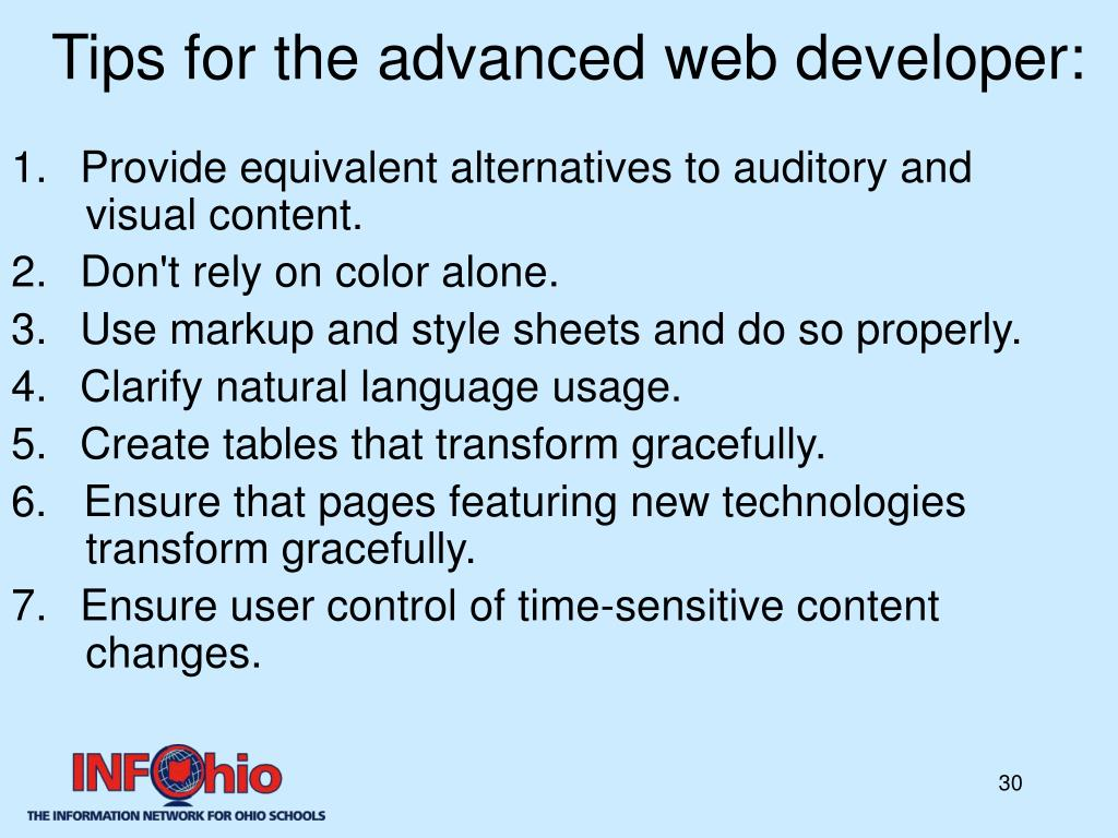 Tips for the advanced web developer: