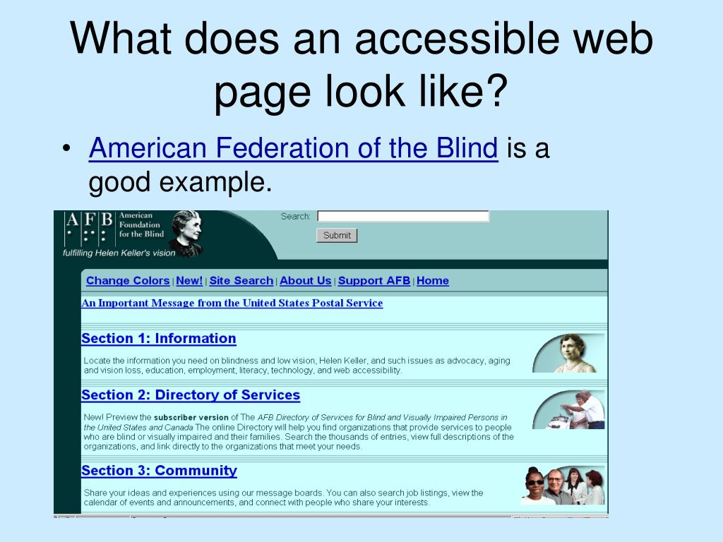 What does an accessible web page look like?
