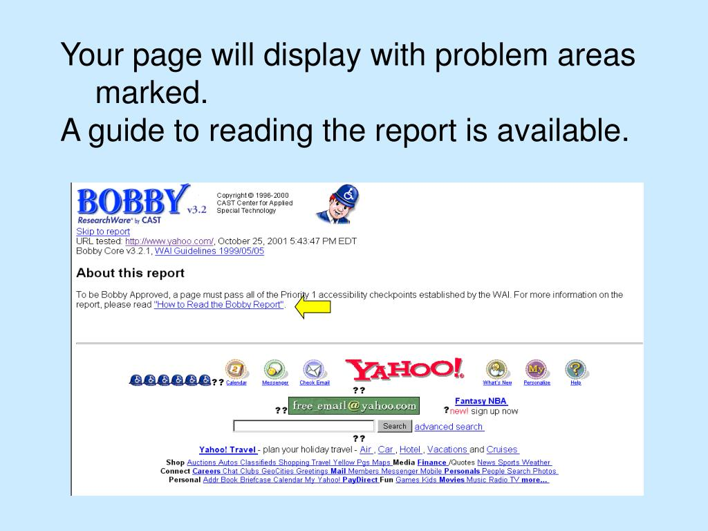 Your page will display with problem areas