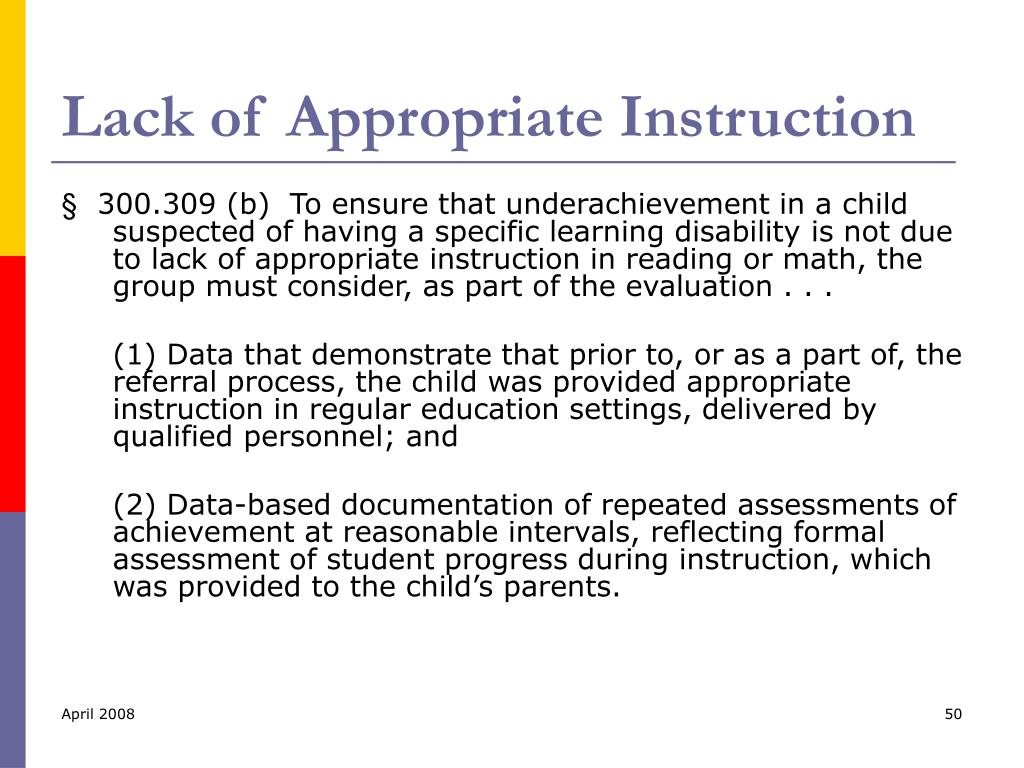 Lack of Appropriate Instruction