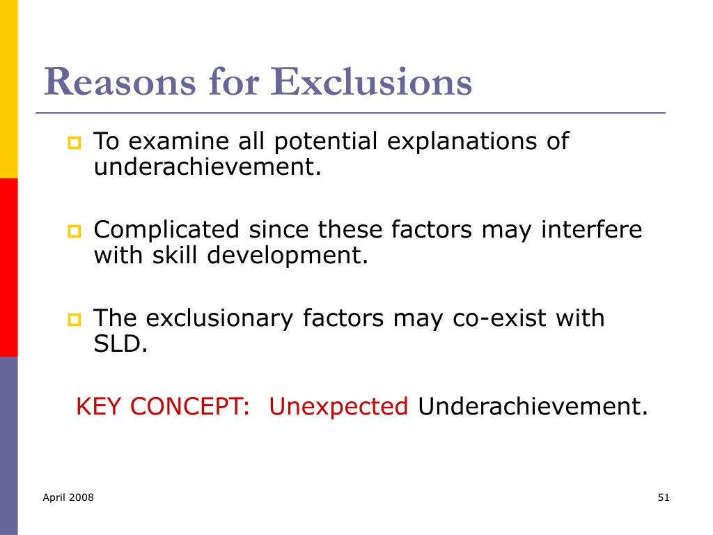 Reasons for Exclusions