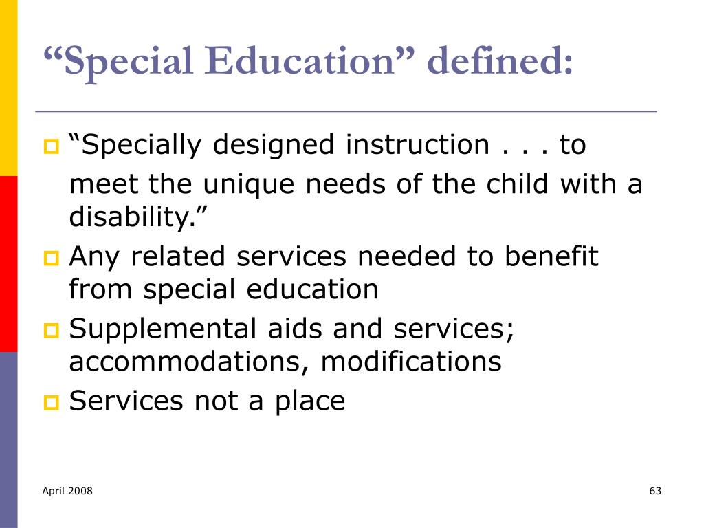 """Special Education"" defined:"