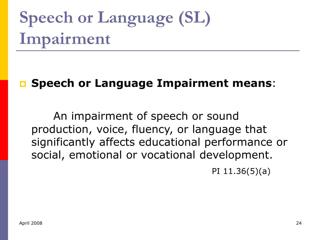 Speech or Language (SL) Impairment
