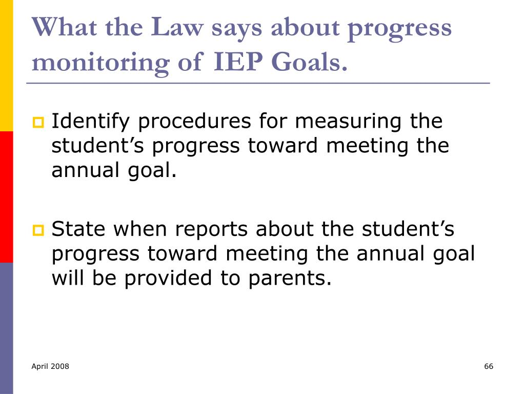What the Law says about progress monitoring of IEP Goals.