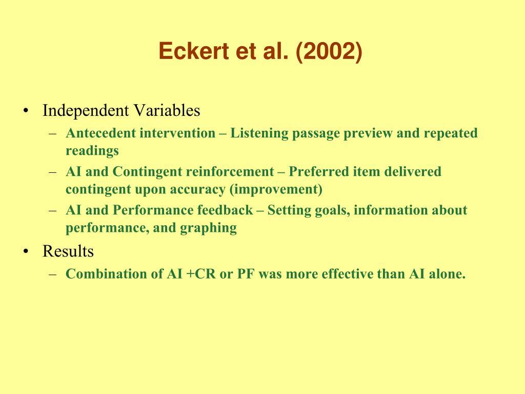 Eckert et al. (2002)