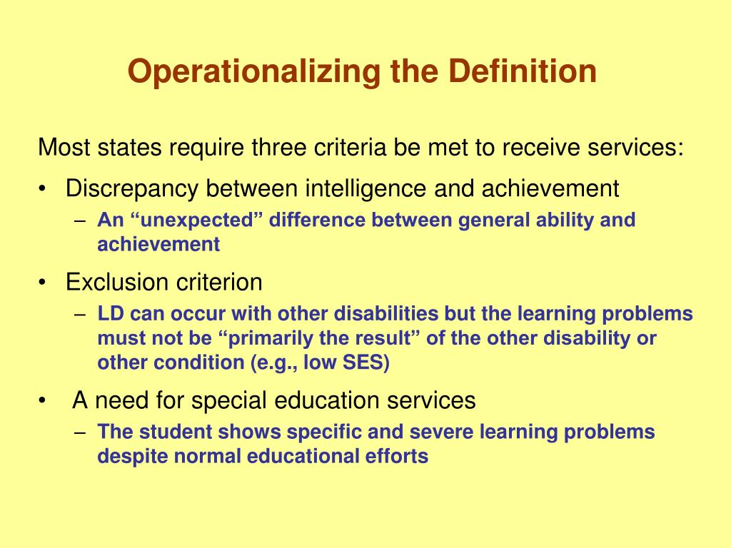 Operationalizing the Definition